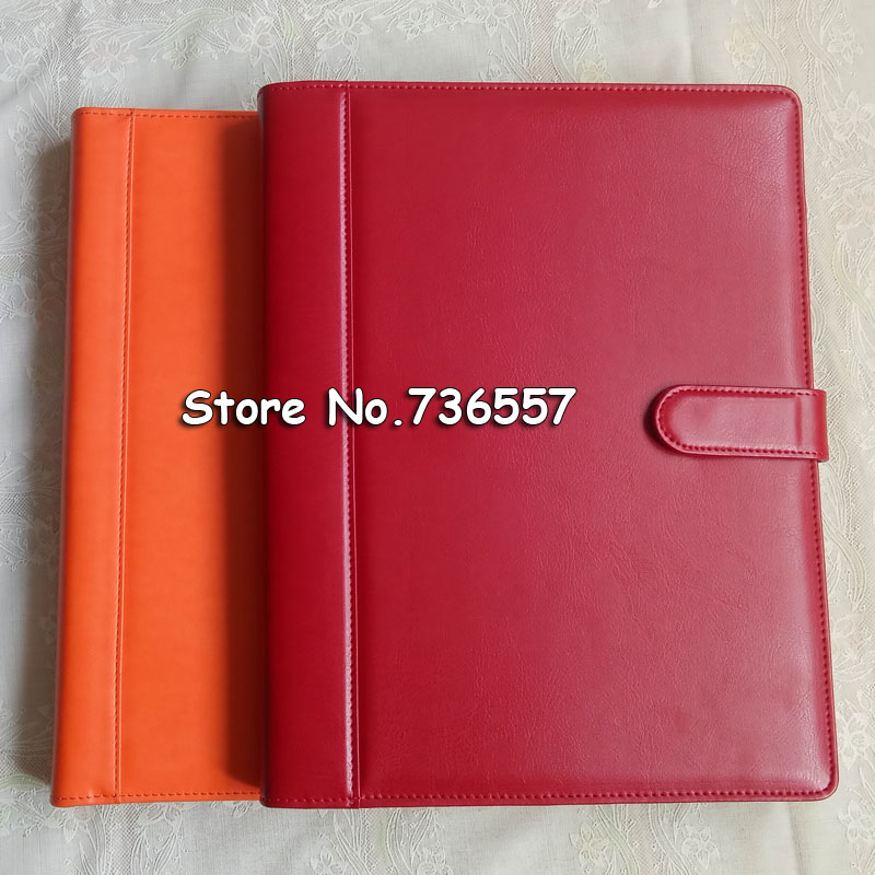 Red PU leather folder Padfolio multifunction organizer planner notebook ring binder A4 file folder with calculator office supply 8 packets file folder a4 pu ring binder display notebook folders with calculator document bag organizer business office supplies