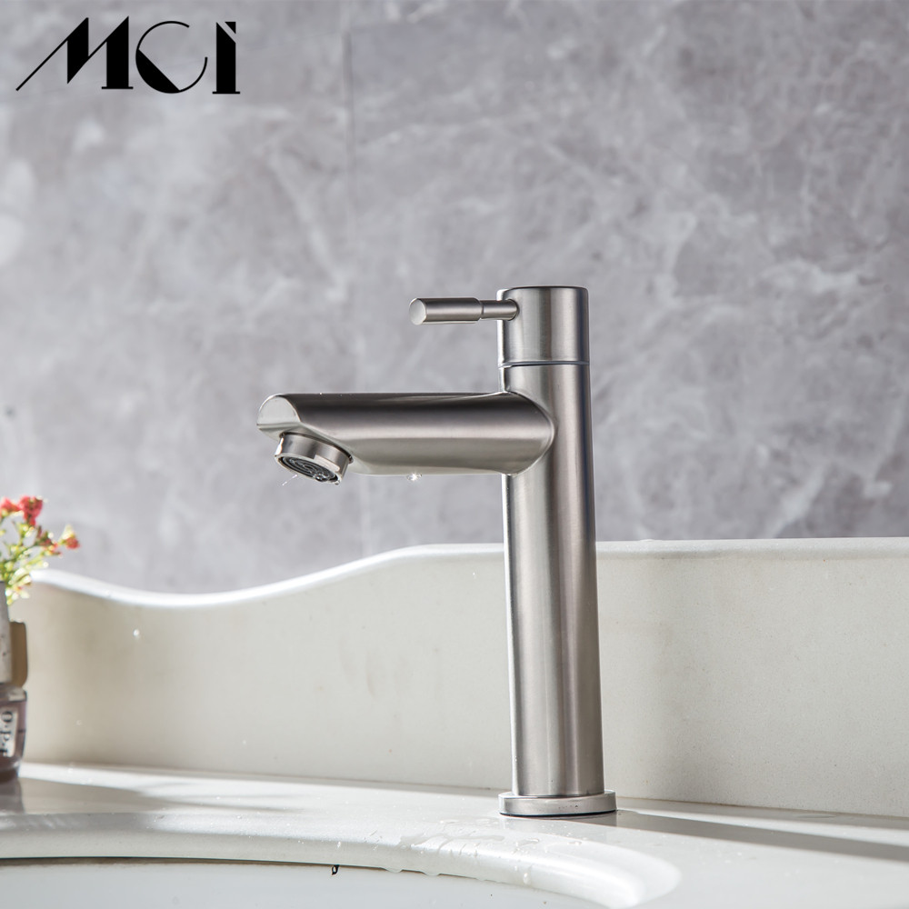 Image 2 - 304 Stainless Steel Deck Mounted Sink Basin faucet Rust And Corrosion Resistance Bathroom Kitchen Single Cold Water Faucet Mci-in Basin Faucets from Home Improvement