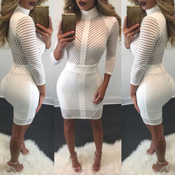 Sexy Women Elegent White Slim Bodycon Bandage Evening Party Long Sleeve Lace Pencil Dress 4