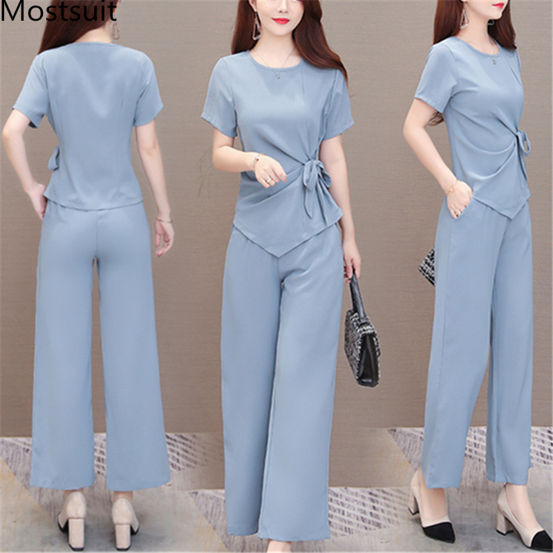Summer Two Piece Sets Outfits Women Plus Size Lace-up Bow Tunics Tops And Pants Suits Korean Elegant Office 2 Piece Sets Blue 41