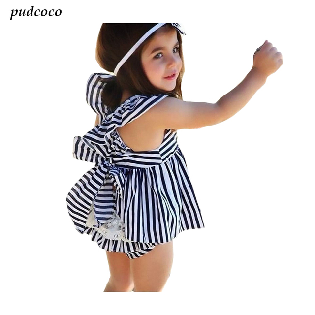 e18b565737f4c 2017 New Baby Girls Summer Bowknot Navy Stripe Backless Dress Sundress  Briefs 2Pcs Set Sunsuit Outfits 0-24M