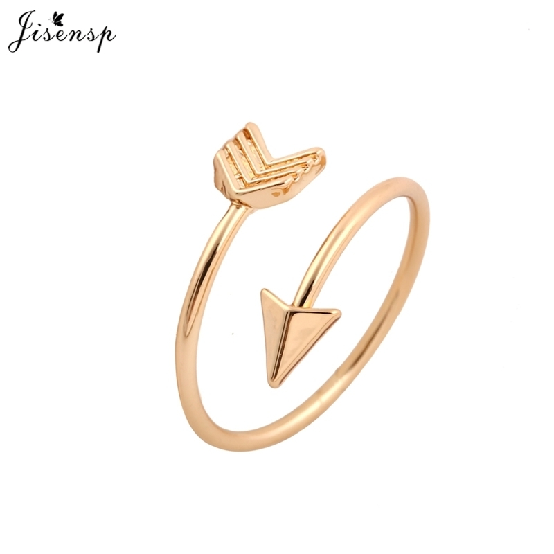 Gold Jewelry Brass Adjustable Small Round Circle Love Heart Arrow Ring for Women