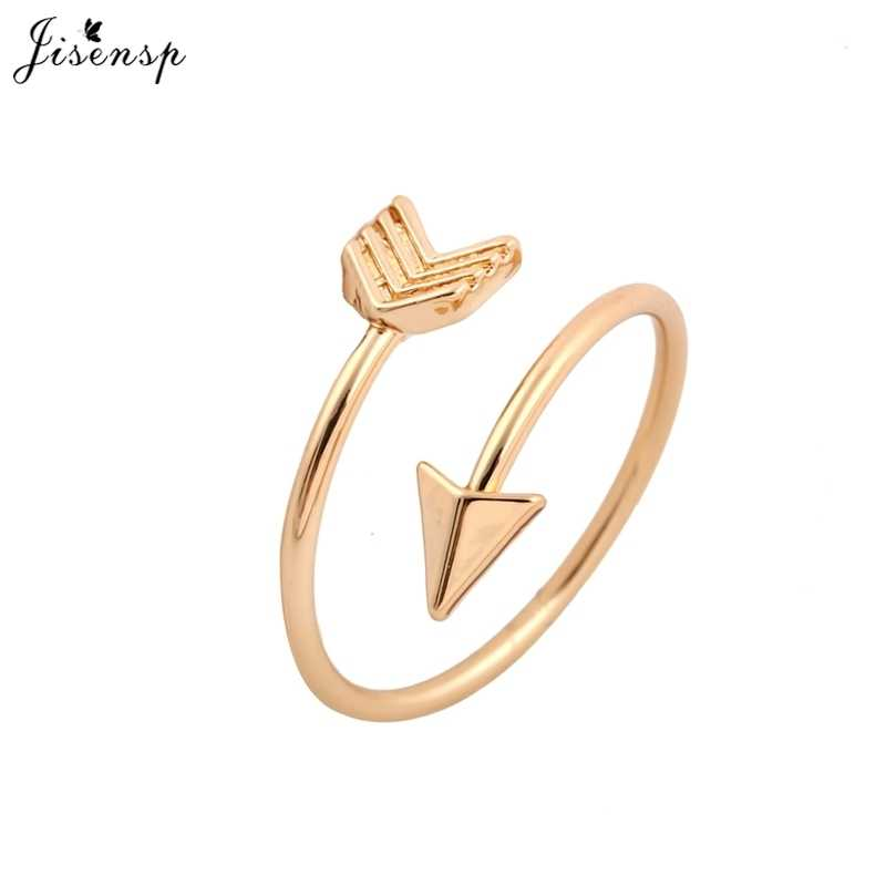 Jisensp Fashion Rings Brass Small Gold Arrow Ring Cute Wedding Jewelry Rings for Women New Year Gift Adjustable Finger Ring