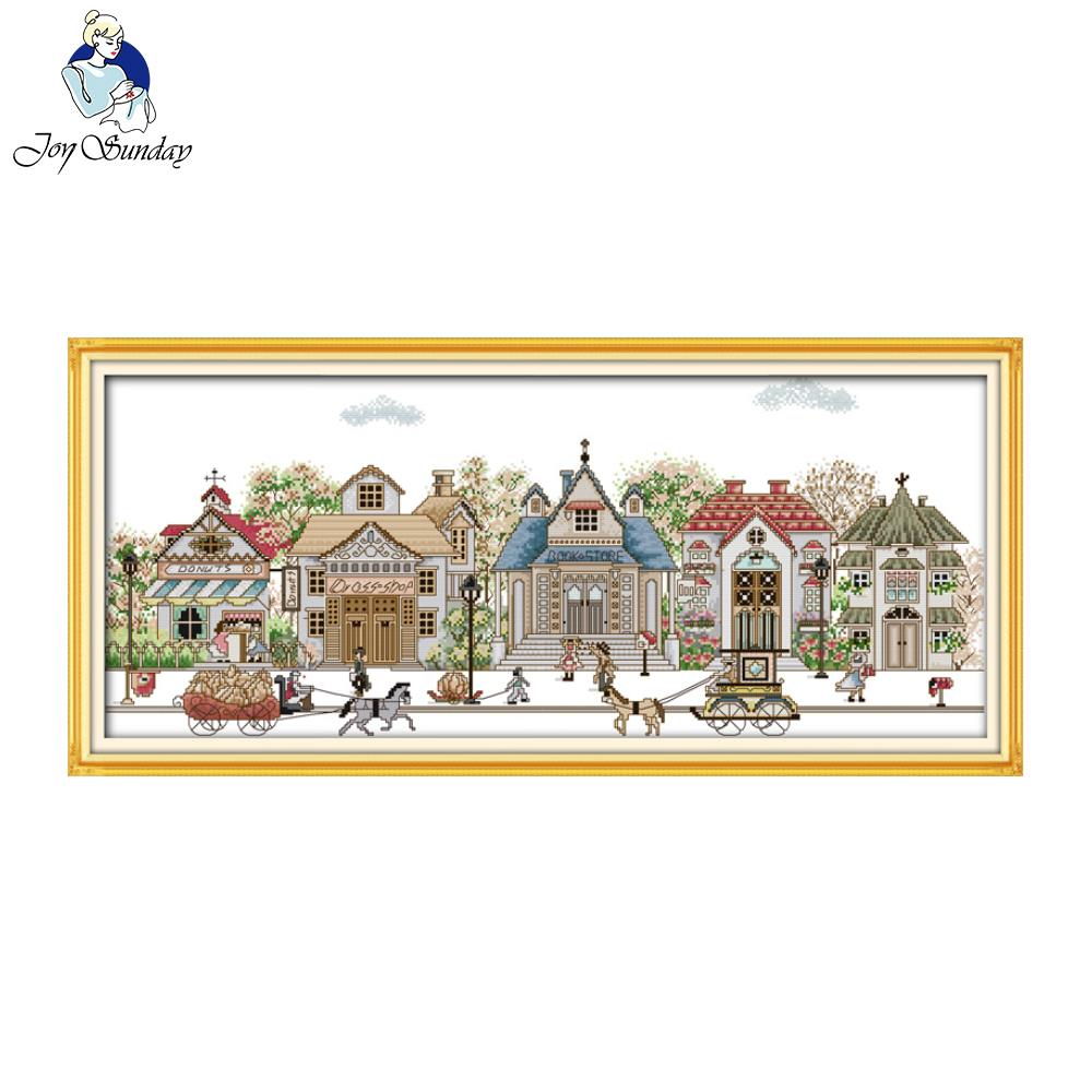 Joy Sunday Street View Christmas Cross Stitch Printed Counted Cross Stitch Kits Chinese Cross-stitch Sets Embroidery Needlework