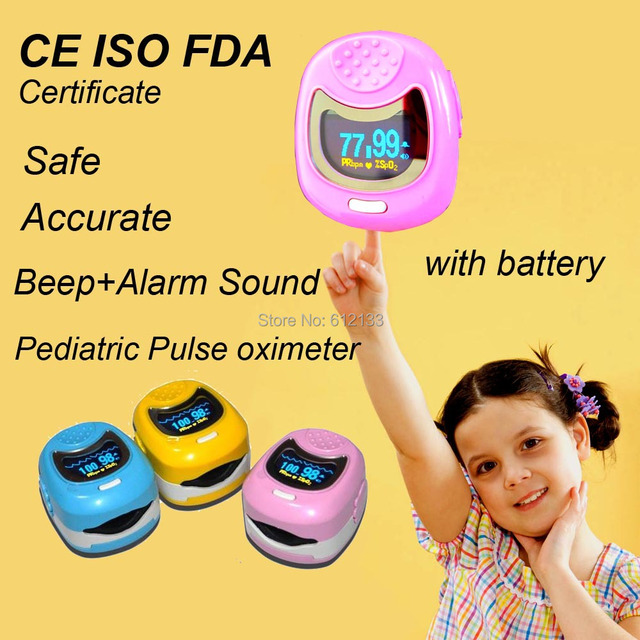 FDA CE ISO Approved  Pediatric Pulse oximeter for Child Kids SPO2 Blood Oxygen Monitor w Rechargeable 9V Battery