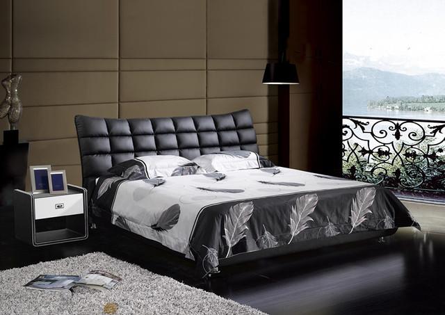A cuadros contemporáneos muebles de dormitorio moderno cama de cuero genuino hechos en China