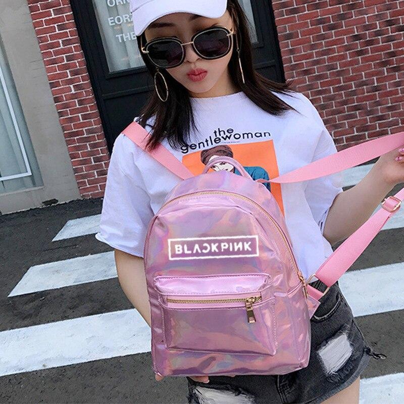 Kpop College Corea Rosa Scuola Colore Laser argento Zaino Adolescenti Ragazze Studente Sacchetti Pelle Blackpink Bagpack Argento Borse Di Rosa 2019 In Donne f7gwq7d