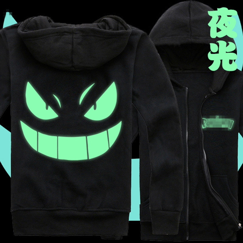 Poke mon Gengar Jackets and Coats Monsters hoodies Anime Gengar Poke mon Hooded Zipper Men cardigan Sweatshirts Cosplay Tops