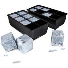 Черный 8 большой лоток для льда, Гигантский Большой силиконовый кубик для льда, квадратный лоток для льда, сделай сам, лоток для льда, кухонные инструменты