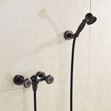Oil Rubbed Bronze ORB Black Bathroom Wall Mounted Shower Faucet  Mixer Tap  Hand Shower Head 110A002