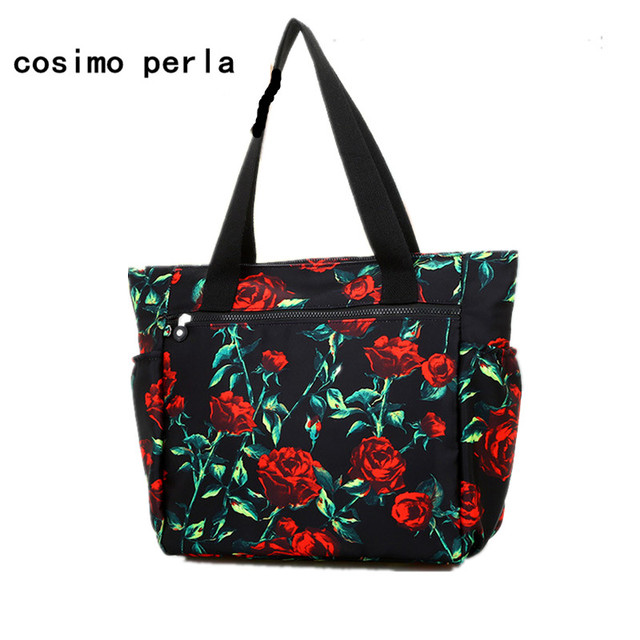 aedaadee5826 Waterproof Nylon Casual Tote Handbags Fashion Roomy Shopping Bag Large  Capacity Travel Canvas Floral Print Women Shoulder Bag
