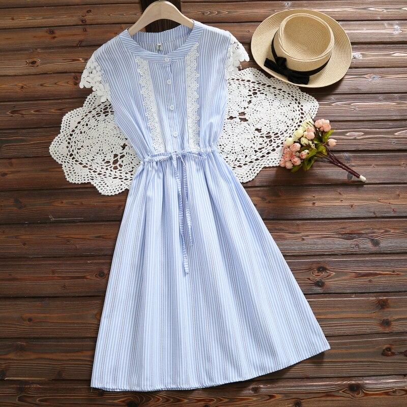 Mori Girl синий, розовый платье в полоску 2018 Новый Для женщин короткий рукав летние платья с кружевом S-XXL Повседневное одежда Vestidos