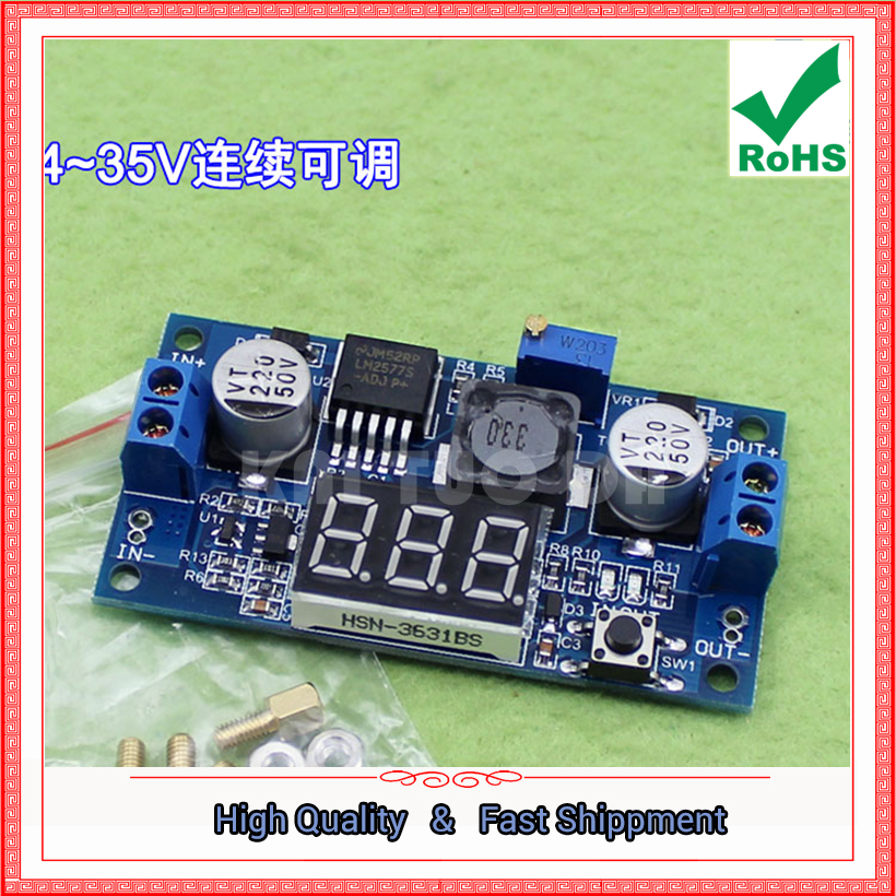 3pcs DC-DC step up Boost Module Digital Voltmeter Display LM2577 Digital Boost 3A Output converter power supply Booster board