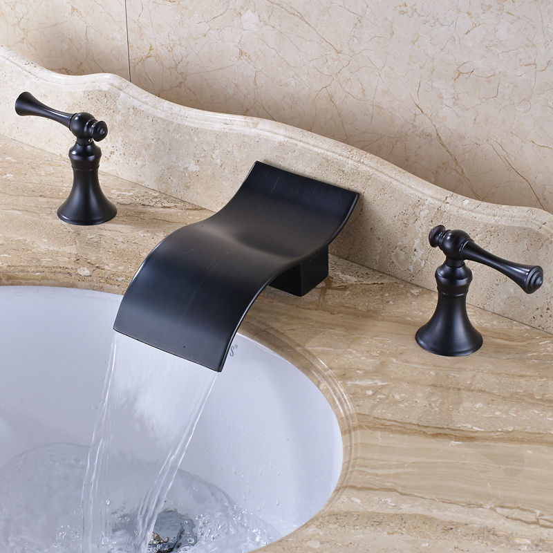 Oil Rubbed Bronze Bathroom Sink Faucet Double Handles Widespread 3pcs Basin Mixer Tap Deck Mounted new oil rubbed bronze wide waterfall spout bathroom sink basin mixer faucet two handles widespread lavatory sink faucet