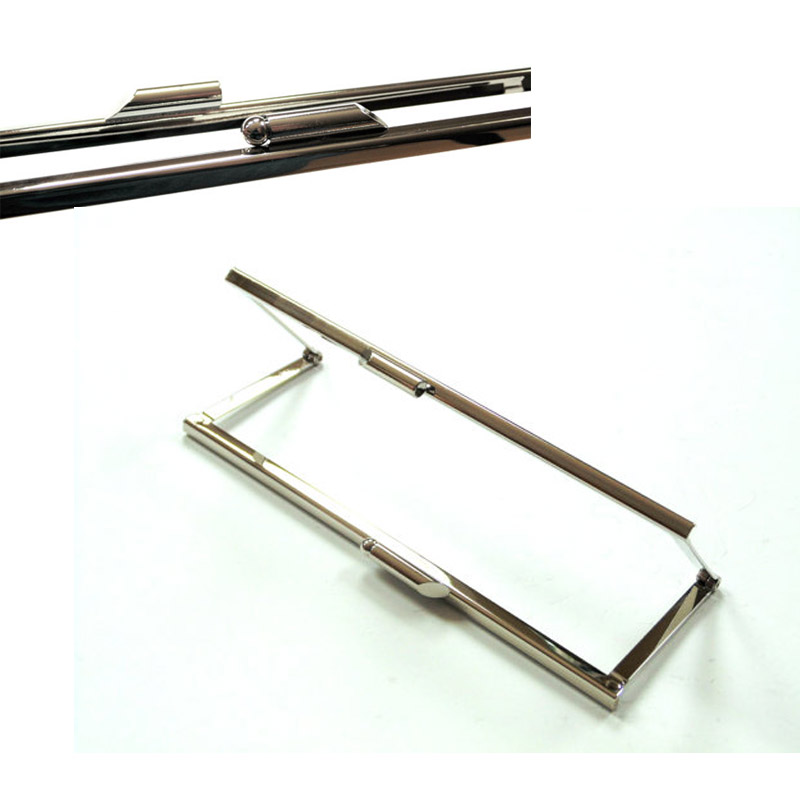 Kiss lock metal purse frame, shiny silver, modern clasp, 6 3/4 Inch fggs 1pc metal purse bag frame kiss clasp lock silver tone size 16 5x9 5cm