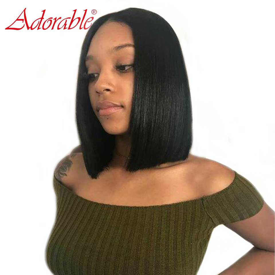 Nature Straight Frontal Wig Brazilian Wig With Closure With Baby Hair For Black Women Short 13*6 Human Hair Bob Lace Front Wigs(China)