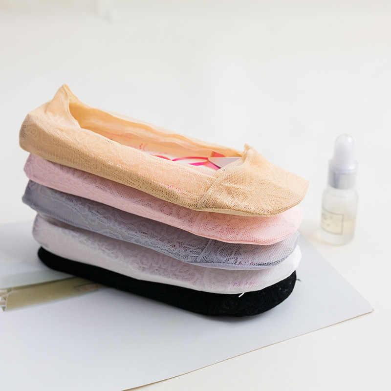 קיץ נשים ילדה סיליקה ג 'ל תחרה סירת גרביים בלתי נראה כותנה בלעדי החלקה נגד חלקה אנטי להחליק גרב 1 זוג = 2 יחידות ws7411