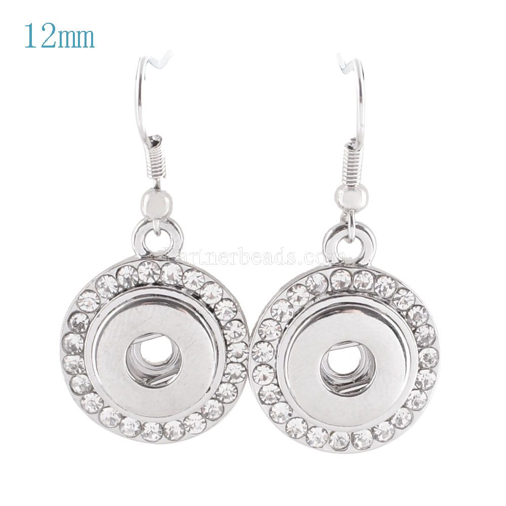 Hot Sale Earring Jewelry 12mm Snaps Button Fashion DIY Charms Silver Plated Design Single Snaps Earrings Jewelry KS0918-S