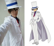 Anime Detective Conan Kaito Kuroba Cosplay Costume White/Black Uniform Outfit Halloween Custom Made
