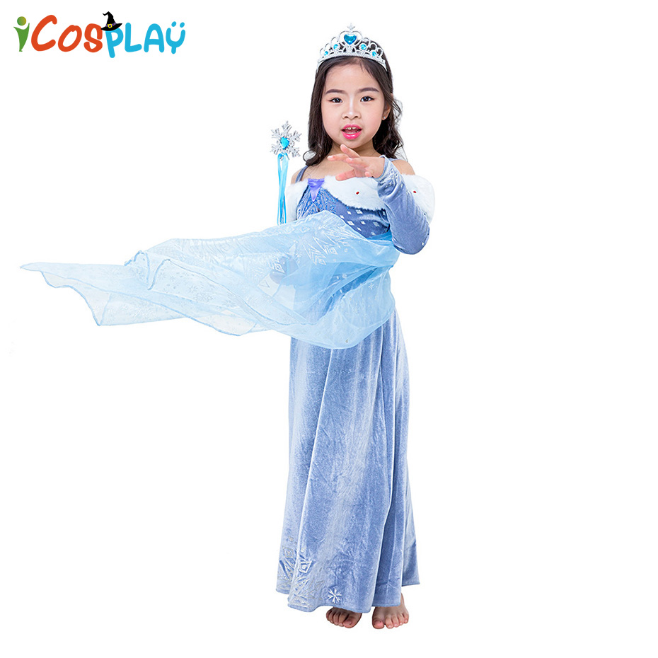 Princess Elsa Dress Party Performance Costume Frozen Aisha Anna Stage Halloween Purim Christmas