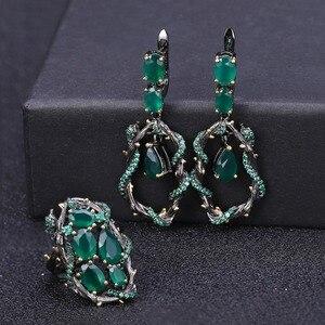 Image 2 - GEMS BALLET Conjunto de joyería Vintage de piedra Ágata verde Natural para mujer, juegos de pendientes de anillo hechos a mano de Plata de Ley 925