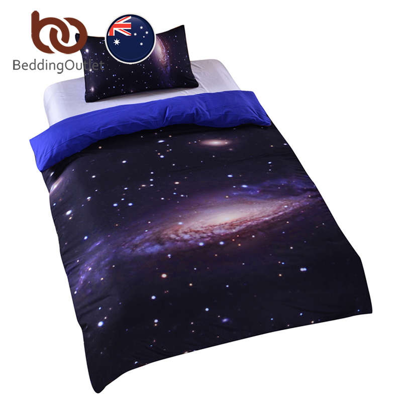 BeddingOutlet Galaxy Bedding Set Earth Moon Print Duvet Cover Set Gorgeous Unique Design Bed Outer Space Quilt Cover Set AU SIZE