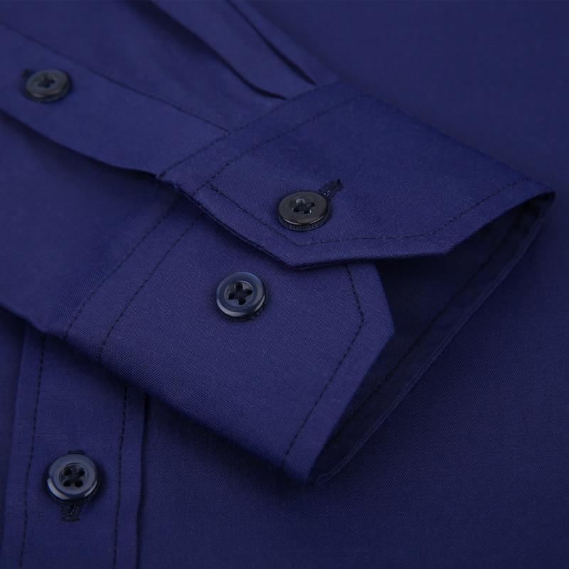 Plus Large Size 8XL 7XL 6XL 5XL Mens Business Casual Long Sleeved Shirt Classic White Black Dark Blue Male Social Dress Shirts 4