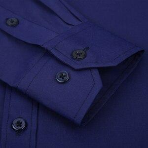 Image 4 - בתוספת גודל גדול 8XL 7XL 6XL 5XL Mens עסקים מקרית ארוך שרוולים חולצה קלאסי לבן שחור כהה כחול זכר חברתי שמלת חולצות