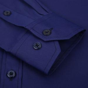 Image 4 - Plus Large Size 8XL 7XL 6XL 5XL Mens Business Casual Long Sleeved Shirt Classic White Black Dark Blue Male Social Dress Shirts