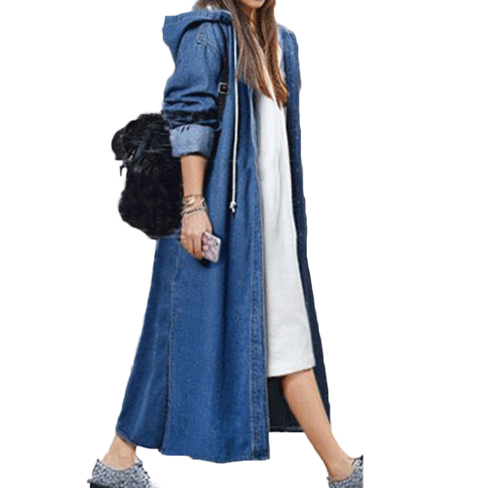 2018 Spring Autumn Women Casual Loose X-Long Denim Trench Coat Female Denim Overalls Plus Size Hooded Long Denim Coat