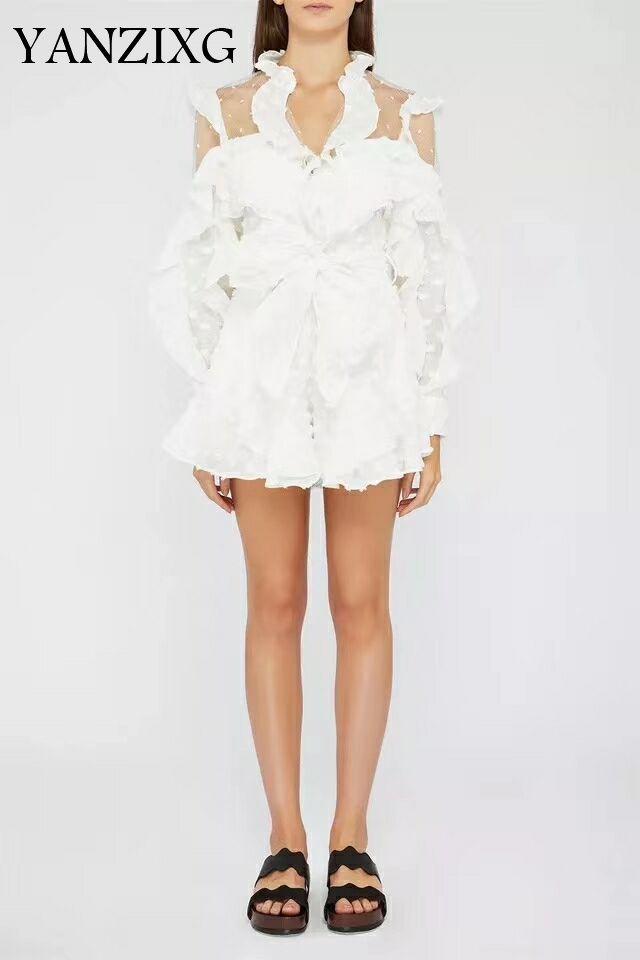 Femme combinaison à volants maille couture Perspective combishorts femmes blanc point v-cou barboteuses 2019 mode Sexy combinaison W287