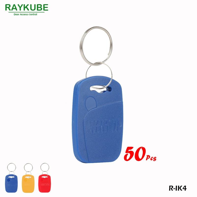 RAYKUBE R-IK4 Square Keyfob 50Pcs/Lot 125Khz RFID Proximity Keyfobs For Door Access System Three Colours raykube 125khz rfid proximity keyfobs 10pcs lot tk4100 em keytags rfid for access control keyfobs r ik1