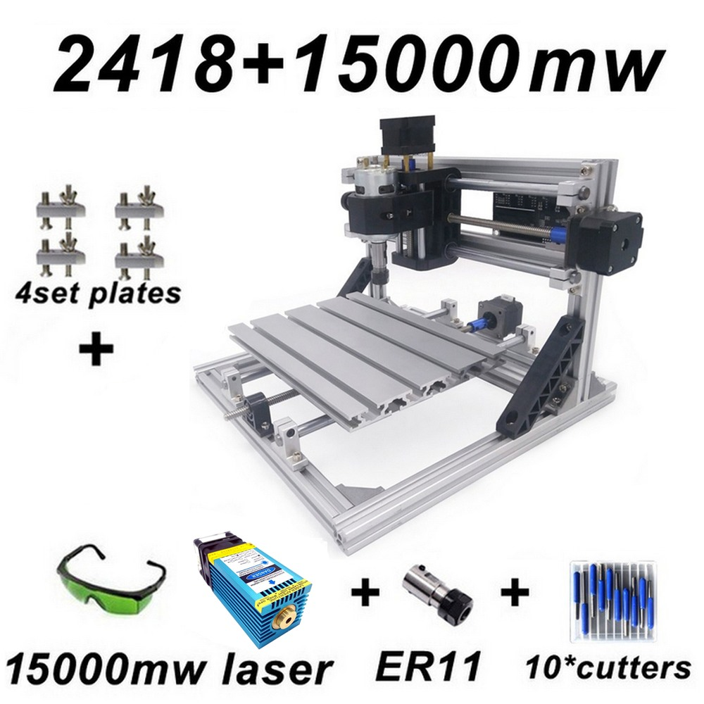 15 W CNC2418 azul máquina de grabado láser con 500 mw 2500 mw, 5500 mw, 15000 mw cabeza de enrutador de madera talla acrílico de la máquina PCB de PVC