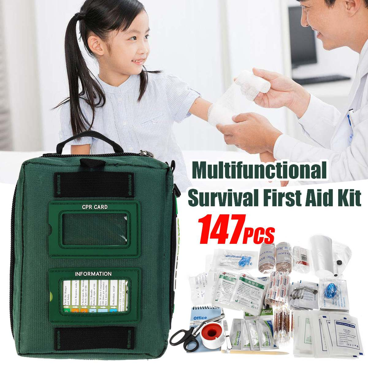 147Pcs Mini Safe Camping Hiking Car First Aid Bag Kit Medical Emergency Kit Treatment Pack Outdoor Wilderness Survival