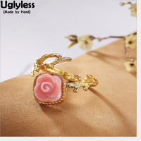 Uglyless Real 925 Sterling Silver Handmade Branch Open Rings for Women Natural Shell Square Finger Ring Rose Fine Jewelry Gold