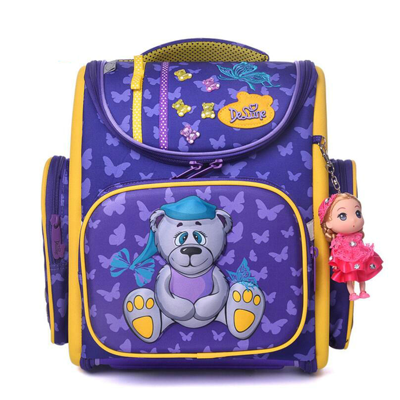 Delune red Children School Bags Orthopedic Backpacks Waterproof Satchel Kids Cartoon dog School Bags For Girls Mochila Escolar