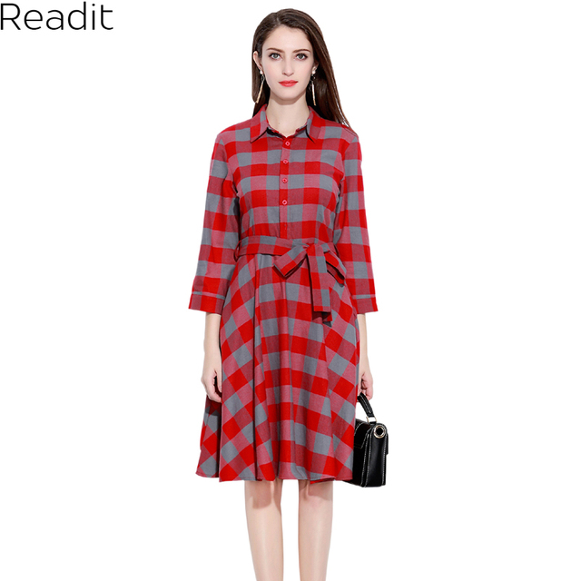 Readit Plus Size Plaid Dress Women Plaid Turn down Collar Cotton ...