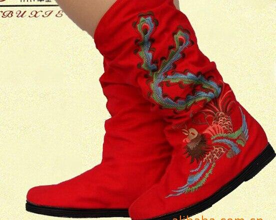 40 Arrivée Nouvelle Des Semelles Mode Femmes rouge Forts Bottes vert 2018 Broderie 35 De En Tissu Taille Appartements Sxq0812 Automne Style Chinois mollet Mi Noir Spirng 1wxq0W5dF