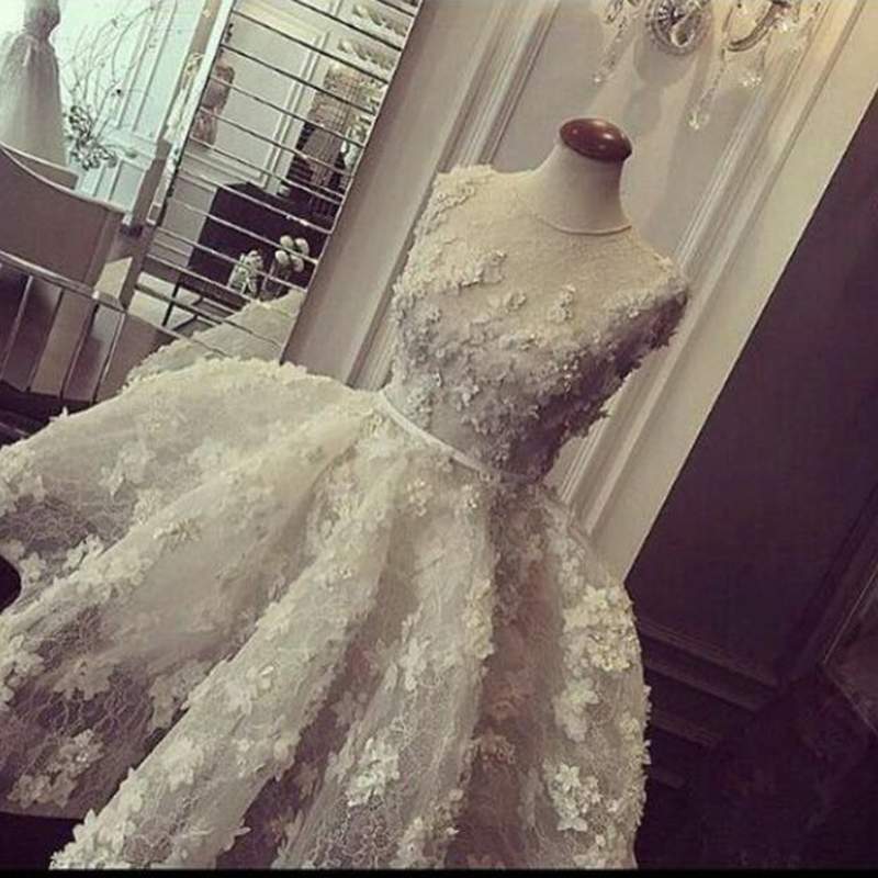 3D Appliques Vestido De Novia Robe De Mariee 2018 Short Ball Gown O Neck Lace Pearls Bridal Gown Mother Of The Bride Dresses