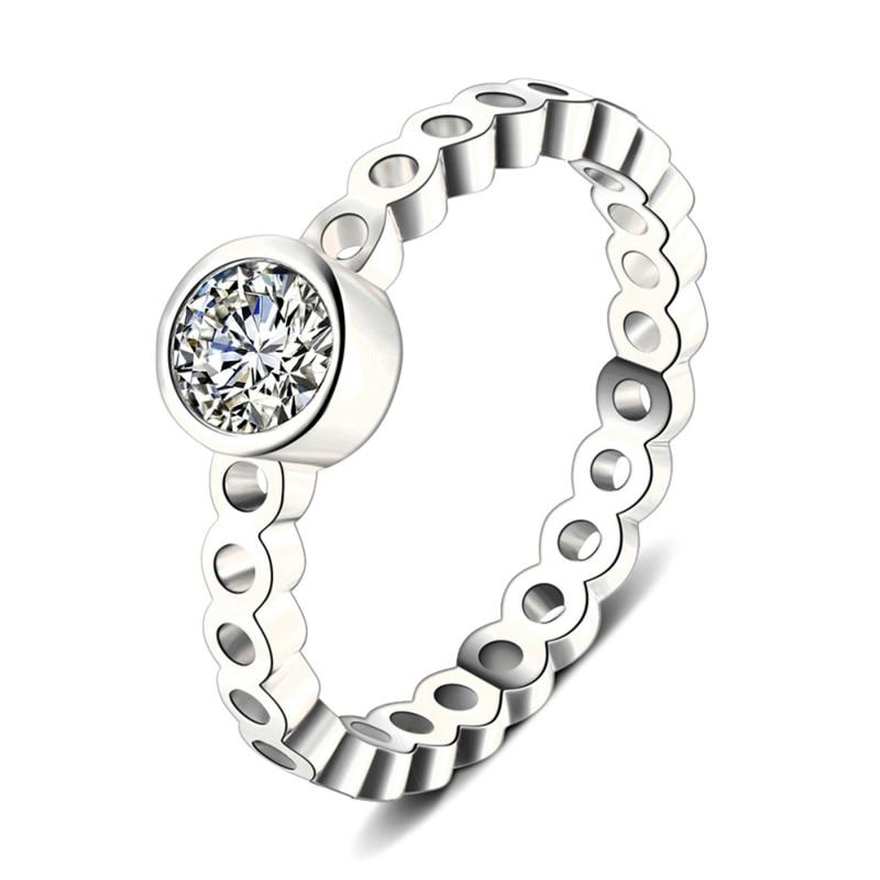 Модное Сверкающее циркониевое серебряное кольцо для женщин, цветочное сердце, корона, кольца на палец, фирменное кольцо, ювелирное изделие, Прямая поставка - Цвет основного камня: 38