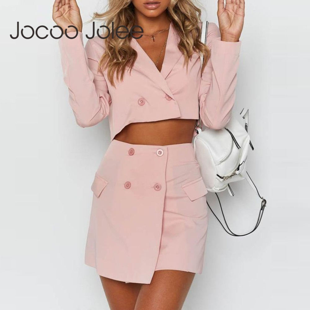 New Office Suits For Women Spring Autumn Suit Jacket And Skirt Pink Blazer Suit Skirt And Elegant Jacket Korean Streetwear 2019
