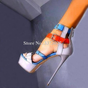 Mixed Color Thin Heel Lady Platform Sandals Sexy Buckle Patchwork High Heel Gladiator Sandals Stiletto Party Pumps Shoes фото