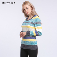 MS VASSA Women Sweaters 2017 New Winter Autumn Stripe Casual Ladies Jumpers O Neck Knitted Female