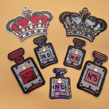 Embroidery Sequin red crown patch diamond perfume bottle iron On Patches for Clothing DIY t shirt accessories transfer applique(China)
