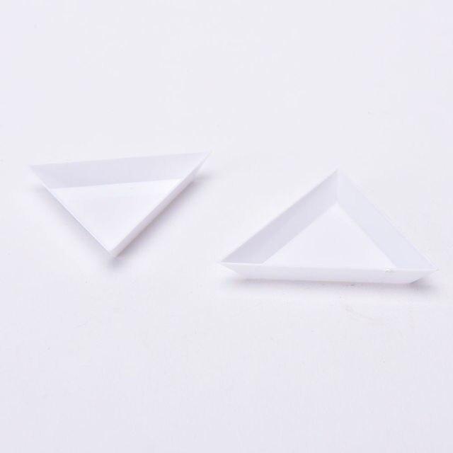 2 sztuk Nail Art dżetów koraliki pojemnik uchwyt trójkąt Craft paznokci narzędzia artystyczne hurtownie gorąca sprzedaż