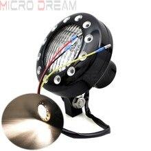 E4 Emark Motorcycle Black Billet Aluminum Vintage Headlight H4 12v 55/60w  Lights For Triumph Harley Cafe Racer Bobber Cruisers