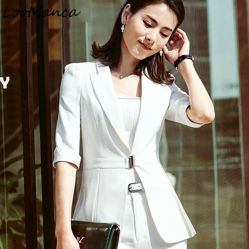 233ad03862 Uniforme Manteau Veste 2018 Nouveau D'été Et Blazers blanc Bureau Mujer  Moitié Vêtements Costume Jupe De Femmes ...