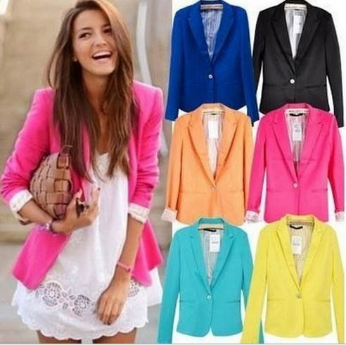 Starlist woman solid Long sleeve single button OL suits Candy Color Notched Blazer Working Tops Casual Coats Outwear