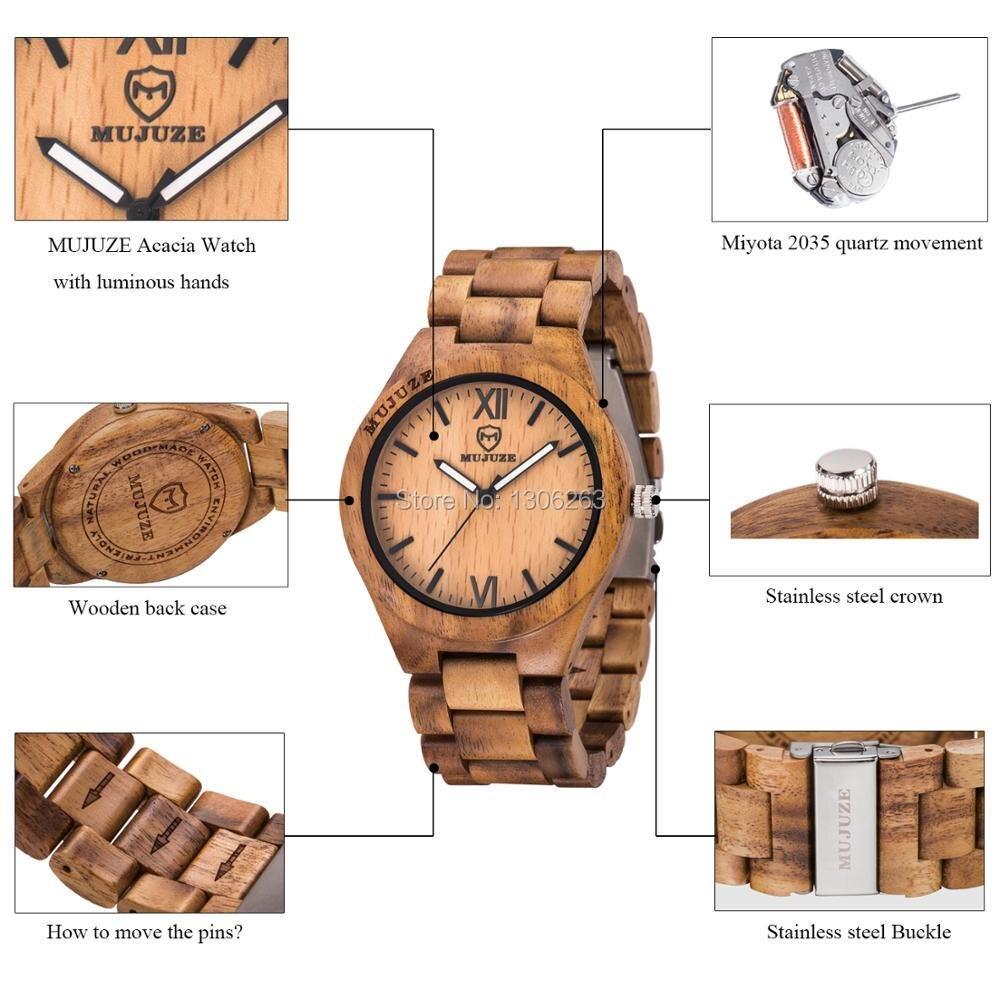 Simulation Wooden Watch Relojes Men Watches Casual Vintage Retro Stylish Wood Wristwatch Men Black Wood Watch Relogio Masculino in Quartz Watches from Watches