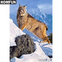 "HOMFUN Full Square/Round Drill 5D DIY Diamond Painting ""Lynx Animals"" Embroidery Cross Stitch 5D Home Decor Gift A04052"